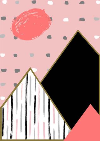 taupe: Abstract geometric composition in black, white, taupe and pastel pink.  Modern and stylish abstract design poster, cover, card design. Hand drawn vintage texture, dots pattern and geometric elements. Illustration