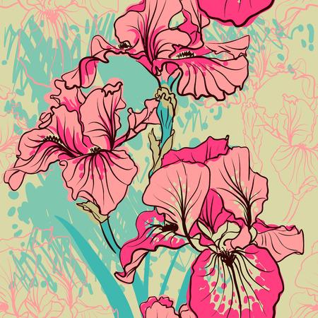 Reticolo senza soluzione di continuità con il fiore decorativo di iride nei colori retro. Vector sfondo.