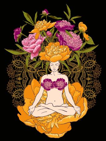 nature woman: illustration beautiful woman doing yoga meditation peony flowers Illustration