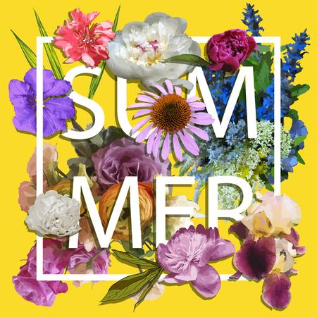 花卉和夏季图形设计 - 彩色花朵 - 适用于T恤,时尚,印刷品