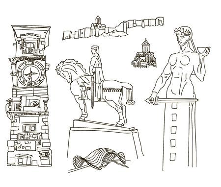 sculptures: Tbilisi, Georgia. Famous places, sculptures, buildings church bridge hand drawing vector illustration