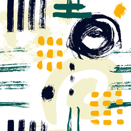 Vector seamless pattern. Abstract background with brush strokes. hand drawn texture. Modern Textured Brush Stroke . Dry Brush Stroke  イラスト・ベクター素材