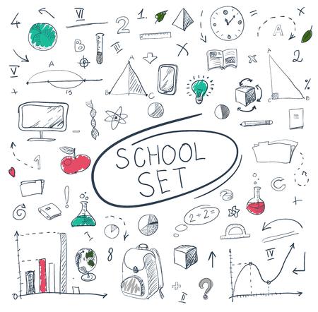 ball pens stationery: school big doodles set on blackboard. Vector illustration.