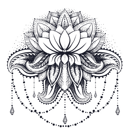 Vector Ornamental Lotus, Ethnischen Zentangled Henna-Tattoo ...