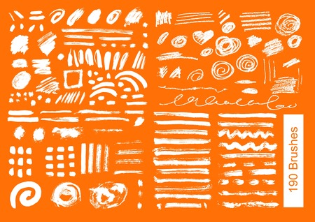 big set of 190 objects of vector brushes spots, blur, ink and chalk Illustration