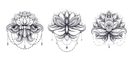 Lotus flower tattoo designs stock photos royalty free lotus flower vector ornamental lotus set ethnic zentangled henna tattoo patterned indian paisley for adult anti mightylinksfo