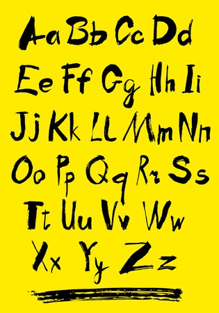 Alphabet letters lowercase. Alphabet. Hand drawn letters. Letters of the alphabet written with a paint brush.