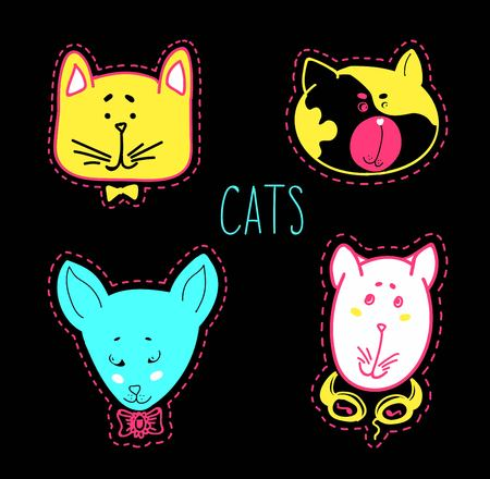 Set of cats heads. Face kitten, whiskers and ears, muzzle and wool. Illustration