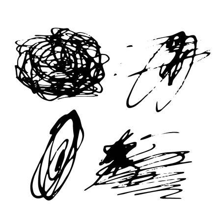 Vector Brush Stroke. Grunge Ink pen. Distressed quill. Black Modern Textured pen Stroke. set