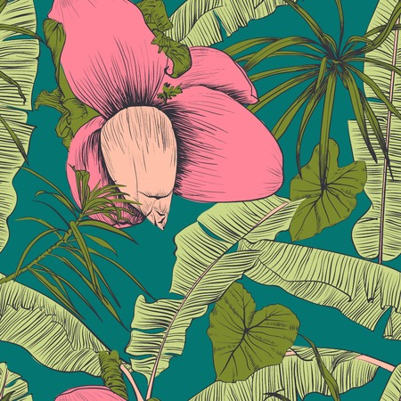 Seamless tropical pattern with banana palms. Vector illustration. Illustration