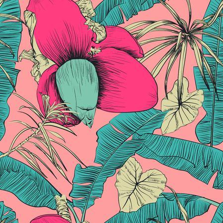 バナナ ヤシの木と熱帯のシームレスなパターン。ベクトルの図。