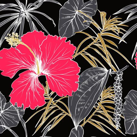 Tropical exotic flowers and leaves. Seamless pattern.