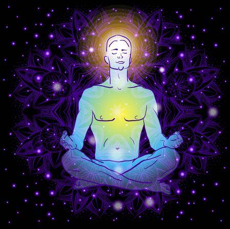meditation man: man sitting in the lotus position doing yoga meditation