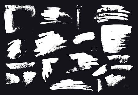 ragged: Vector Brush Stroke. Grunge Ink pen. Distressed quill. Black Modern Textured pen Stroke. set