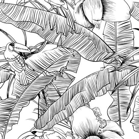 Patrón Tropical Sin Fisuras Con Hojas De Plátano. Ilustración Del ...