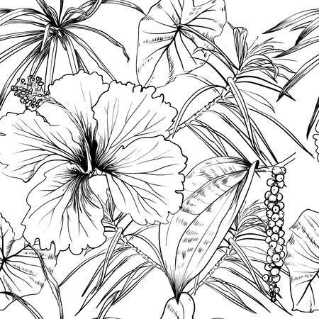 context: Tropical exotic flowers and leaves. Seamless pattern. coloring book