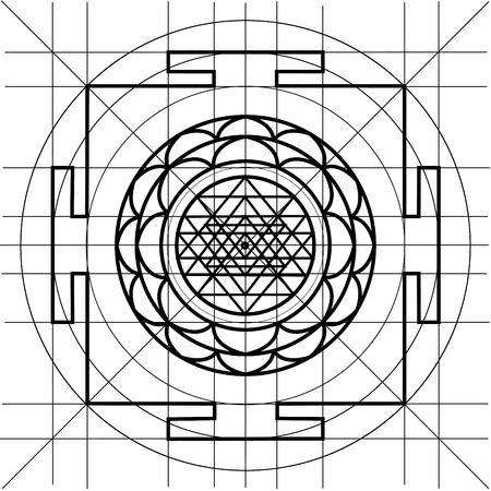 chakra energy: Sree Yantra. Sacred Geometry coloring book Illustration
