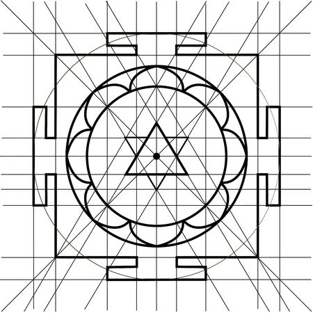 tantra: Sree Yantra. Sacred Geometry coloring book Illustration