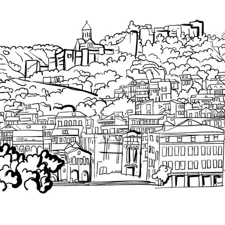 georgian: Sketch of the species on the Shuris-Tsikha serf complex of Narikala. Illustration
