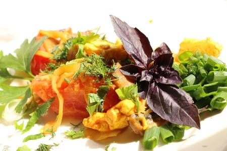 Italian gnocchi with mushrooms and tomato sauce Stock Photo