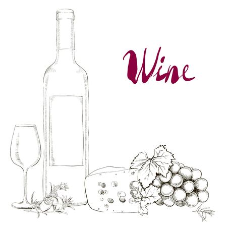 burgundy: Hand Drawn Illustration Wine Glass and Bottle