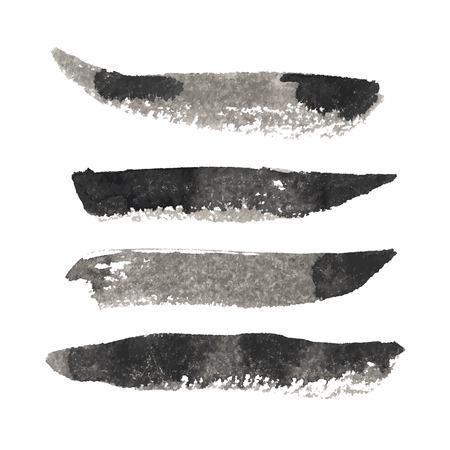 Grunge Vector Distressed Modern Textured Brush Stroke Dry set