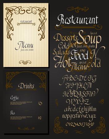 Set of vintage styled restaurant menu.