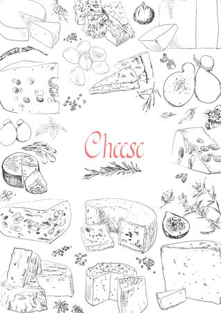 Vector illustrated Set Cheese Menu. Illustration