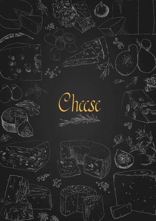 Vector illustrated Set Cheese Menu. Иллюстрация