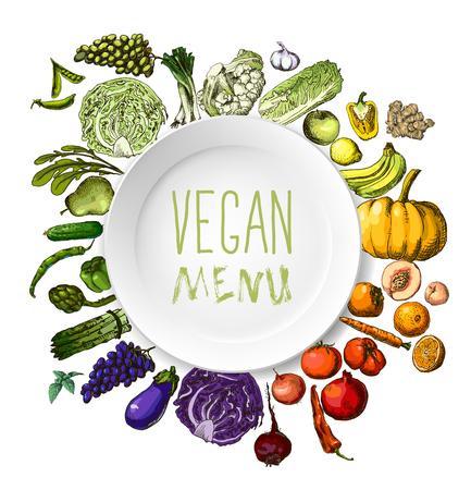 hand-painted vegetables, fruits Ilustração
