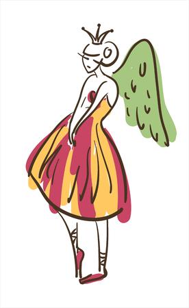 Vector hand drawing ballerina figure Illustration