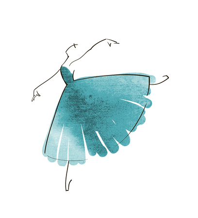 Vector hand drawing ballerina figure Stock Illustratie