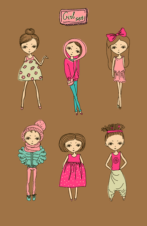 illustration vector teenage  girl set