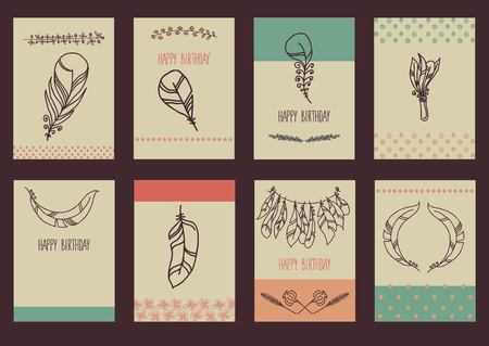 Vector Set of Sketch Plumage Illustration