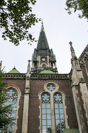 gothic revival: the temple of saints Olga and Elizabeth, the facade, neogothic