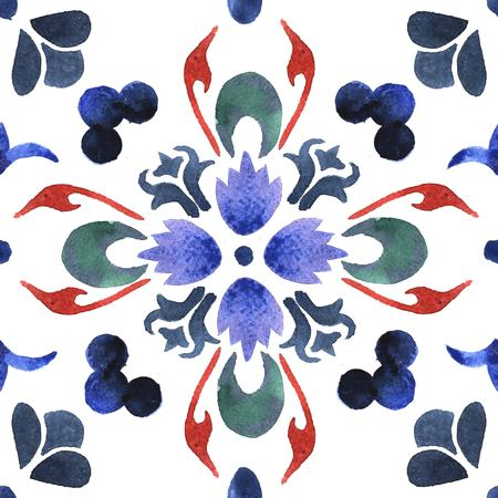 the traditional tiles. Decorative tiles. Spain, Portugal traditional tiles. Floral ornament. Watercolor