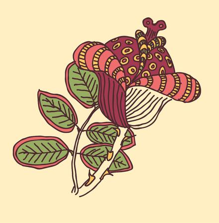 Retro floral background vector illustration.
