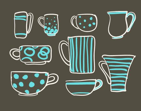 Set cups vector
