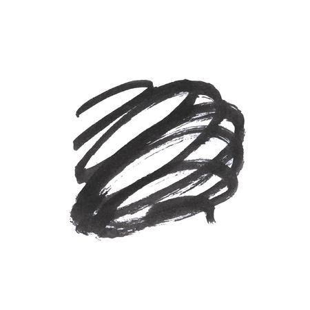 Vector Brush Stroke. Grunge Ink pen. Distressed quill. Black Modern Textured pen Stroke. Curls of a spiral drawn with ink by a sharp feather