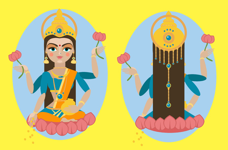 vector illustration Mata Lakshmi Traditional Hindu deity