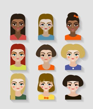 Niedliche Illustrationen von schönen jungen Mädchen mit verschiedenen Frisur Standard-Bild - 93949889