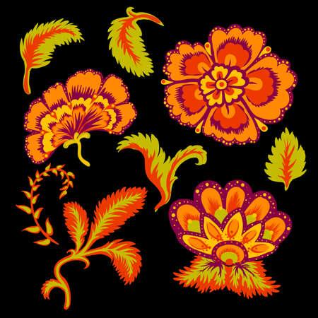 Decorative beautiful flowers and leaves vector illustration set. Illustration