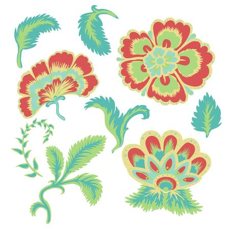decorative beautiful flowers and leaves vector llustration set
