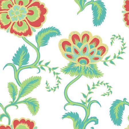 Flowers Seamless pattern illustration on white background.