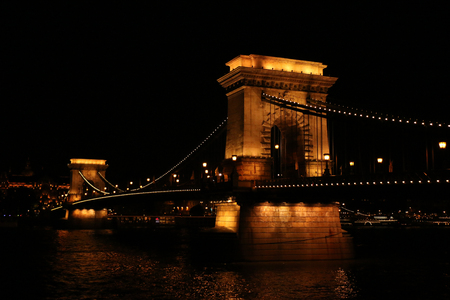 Budapest, Hungary - Beautiful Szechenyi Chain Bridge with sightseeing boat on River Danube Reklamní fotografie