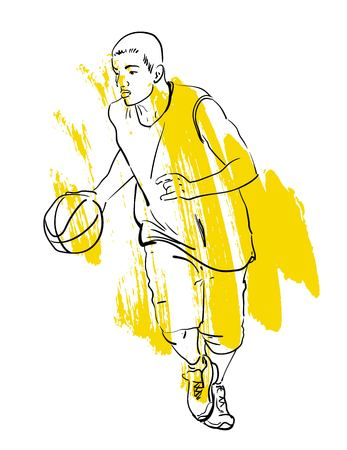 basketball player playing in vector sketch on isolated white background