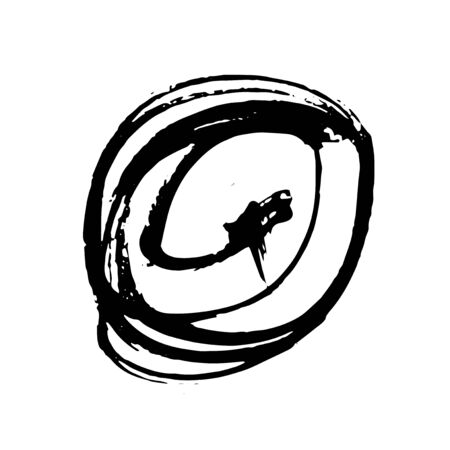 Vector Brush Stroke. Grunge Ink pen. Distressed quill. Black circle Modern Textured pen Stroke. Curls of a spiral drawn with ink by a sharp feather Çizim