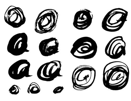 Vector Brush Stroke. Grunge Ink pen. Distressed quill. Black circle Modern Textured pen Stroke. Curls of a spiral drawn with ink by a sharp feather  イラスト・ベクター素材