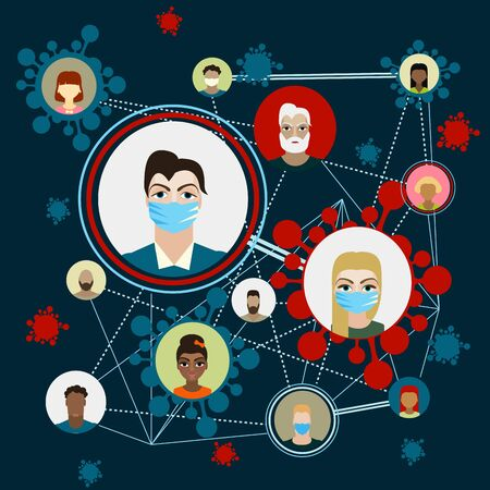 People with mask to protect them from Corona virus, Illustration vector graphic of Stop Corona Virus.