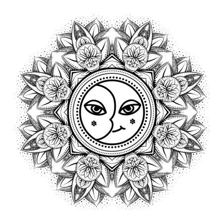 vector gold monochrome design abstract mandala sacred geometry illustration sacred sun and moon Merkaba lotus isolated dark brown background Vector Illustratie